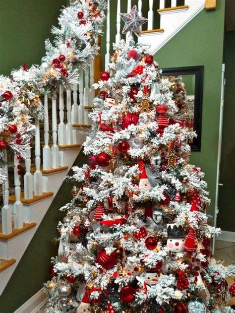 flocked christmas tree decorating ideas dress up the