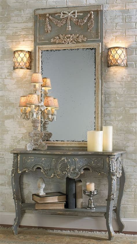 french country entryway table decorating rustic themed accent walls
