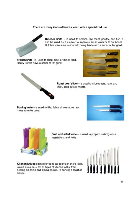 different types of kitchen knives and their uses kto12 tle home economics lm commercial cooking
