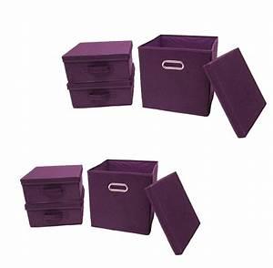 Aufbewahrungsbox Mit Deckel Stoff : ordnungsboxen violett 2x 3er set aufbewahrungsbox stoff aufbewahrungskorb mit deckel faltbar ~ Watch28wear.com Haus und Dekorationen