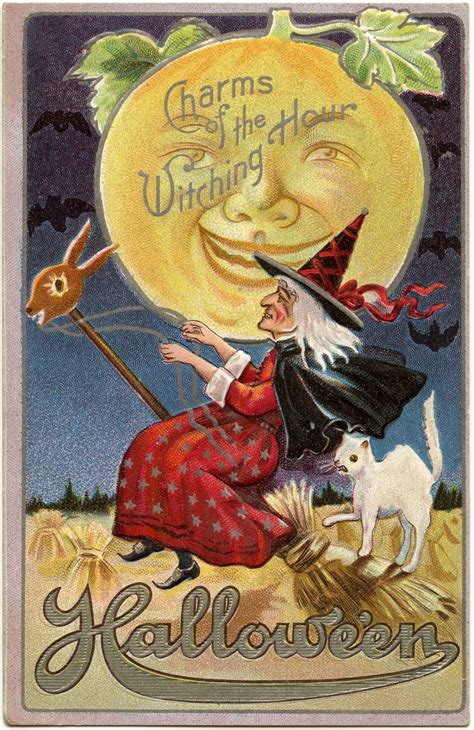 vintage halloween witch image  moon man  graphics