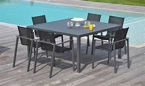 Table Salon Carrée : salon de jardin carr table 6 fauteuils en alu anthracite miami ~ Teatrodelosmanantiales.com Idées de Décoration