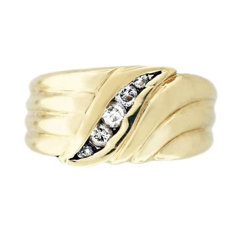 yellow gold  stone diamond mens ring boca raton