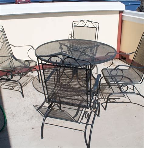 outdoor wrought iron patio table and chairs by plantation