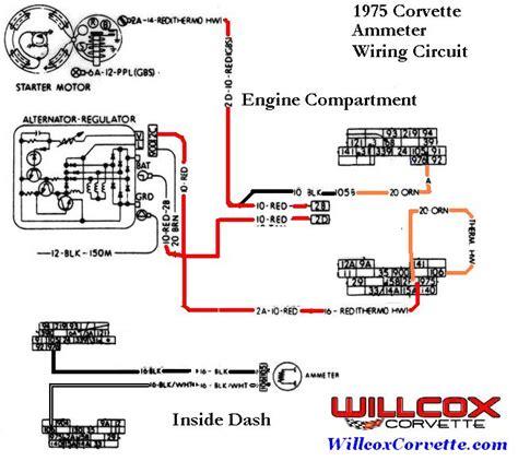 75 Corvette Wiring Diagram 1975 corvette wire schematic ammeter willcox corvette inc