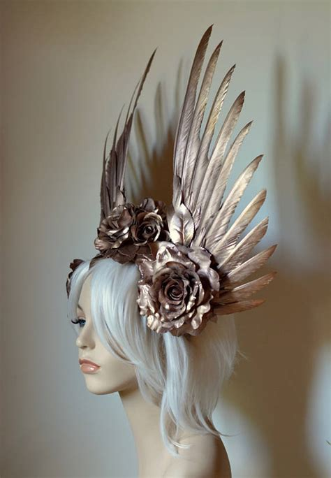 rose gold wings roses headdress serpentfeathers