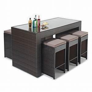 Rattan Bar Set : wicker garden bar set 6 padded stools 220x80cm bar table rattan furniture ebay ~ Indierocktalk.com Haus und Dekorationen