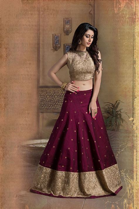 blouse cuisine picture of beige wine color designer lehenga choli