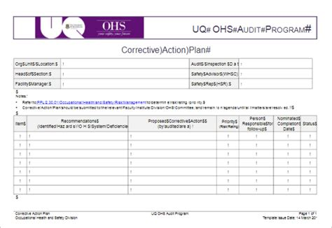 corrective plan template 31 plan templates free excel word exles sles