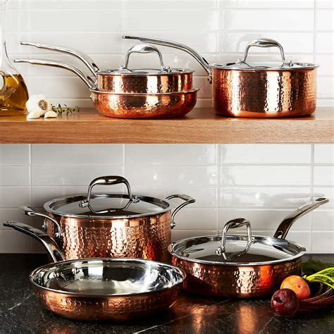 lagostina martellata hammered copper  piece cookware set reviews crate  barrel