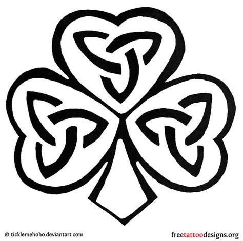black  white celtic shamrock tattoo design
