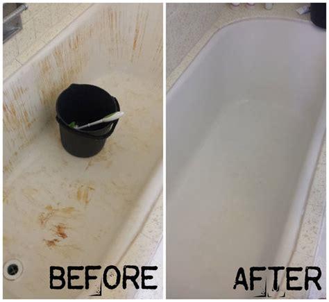 turn  bleach stained red bathtub white
