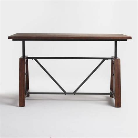 Wood Braylen Adjustable Height Work Table  World Market. Contemporary Writing Desks. Stools For Desks. Black Console Tables. Us General 5 Drawer Tool Cart. Best Wood For A Desk. Silverware Dividers For Drawers. Desk Plates. Marble Top Accent Table