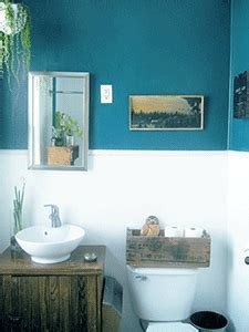 bathroom decorating  blue brown colors chocolate