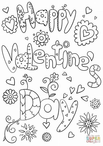 Coloring Pages Happy Valentine Valentines Printable Paper