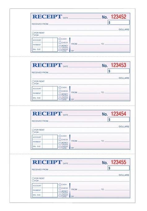 tops money receipt book 3 part carbonless 4 pg 100 st bk
