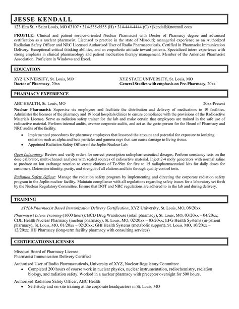 Pharmacist Resume Pdf by Pharmacist Resume Exle Resume Badak