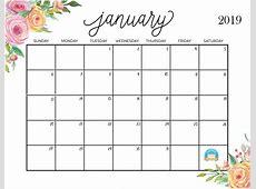 Calendar January 2019 Printable January 2019 Calendar
