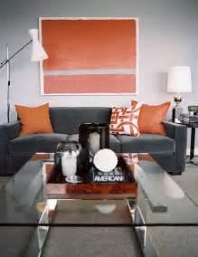 orange livingroom mcallister creative styling gray and orange living room decor