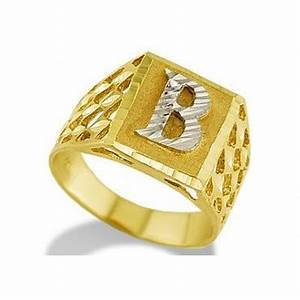 new 14k two tone gold diamond cut letter b initial ring With mens gold ring with letter
