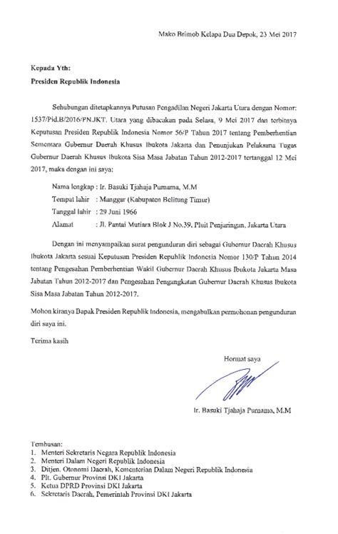 isi surat pengunduran diri ahok sebagai gubernur dki