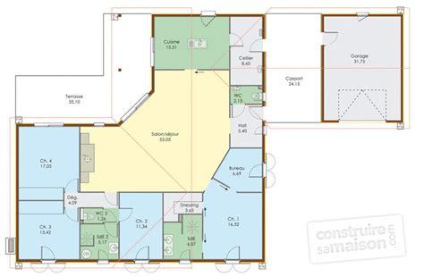 modele maison plain pied 4 chambres plan de maison plein pied en u
