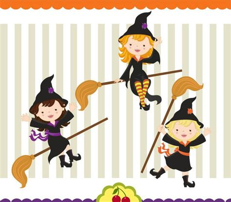 halloween cute witches digital clipart set etsy