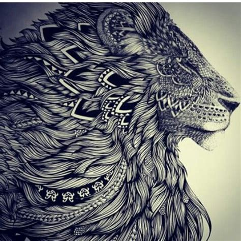 lion mandala black  grey tattoo hair beauty