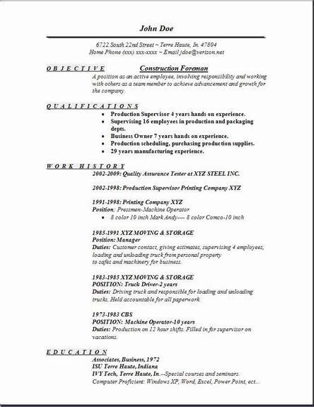 Foreman Resume Sle by Construction Foreman Resume Occupational Exles Sles