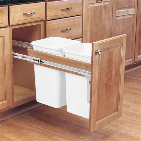 double trash can cabinet rev a shelf double pull out waste bins for framed cabinet