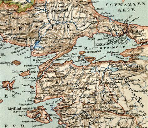 impero turco ottomano vecchia mappa dall atlante geografico 1890 l impero
