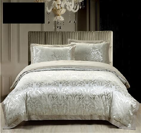 silver luxury comforter bedding sets 4pc 50 cotton 50