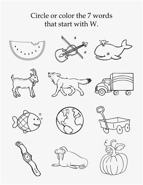 s tot school the letter w 525 | w beginning sounds copy