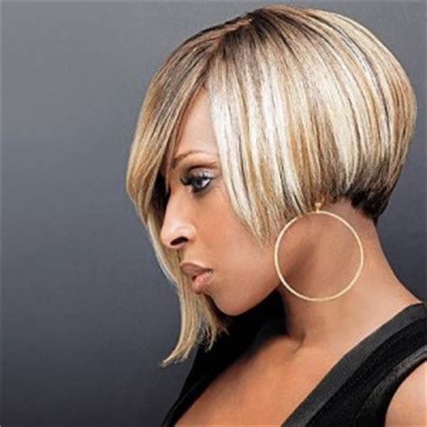 mary  blige blonde asymmetric bob hairstyle