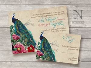 Great ideas for the busy little bride peacock themed for Peacock wedding invitations with photo
