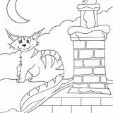 Colorir Gato Catch Coloring Coloriage Rooftop Roof sketch template