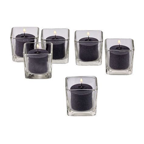 square candle holders light in the clear glass square votive candle holders
