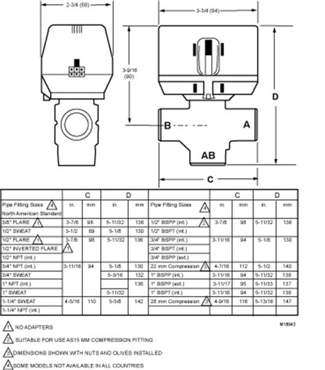 Honeywell 3 Way Valve Diagram by Dimension Dimensions For Vc 3 Way Valve Metric