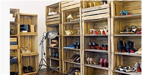 fabriquer un meuble a chaussures facile dressing meuble t 234 te de lit en palette ou caisse bois