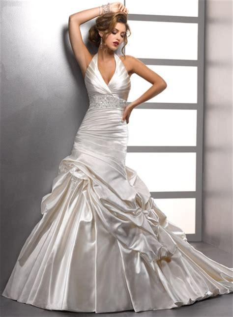 sexy trumpet mermaid halter ivory satin beaded wedding