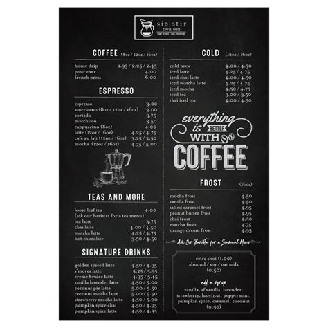 There is a wide variety of drinks and foods made fresh daily at the coffee house! Menu for Coffee House | Menu contest