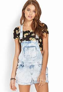 Forever 21 Mineral Wash Overall Shorts Youu0026#39;ve Been Added To The Waitlist in Blue | Lyst