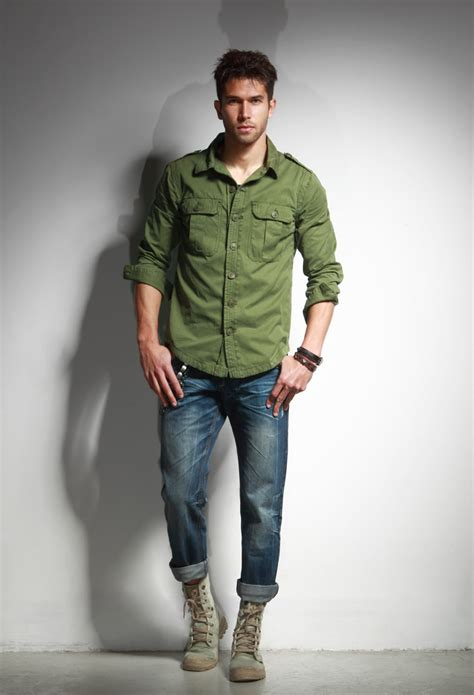 green dress shirt mens file wearing green shirt jacket blue and desert