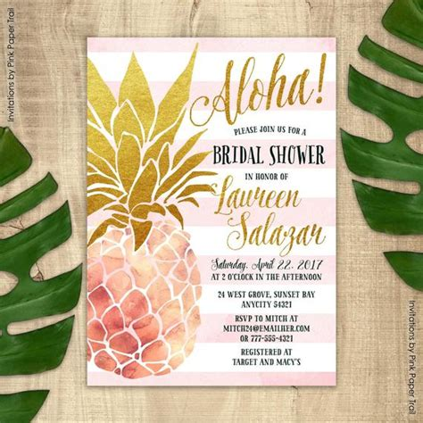 pineapple invitation bridal shower invitation pink  gold