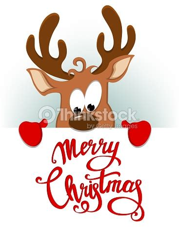 Merry Christmas Greeting Card With Funny Reindeer Hiding