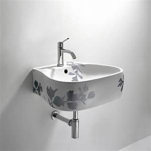 Bathroom printed floral design pear sink toilet and for Agape sink