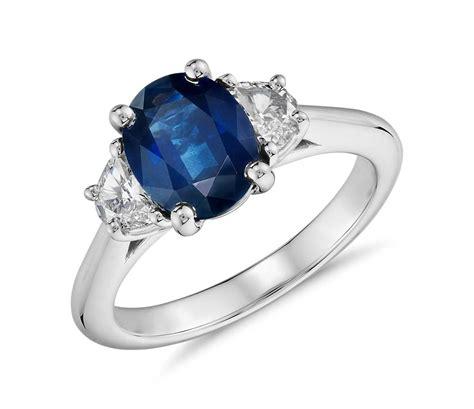 sapphire   moon shaped diamond ring  platinum