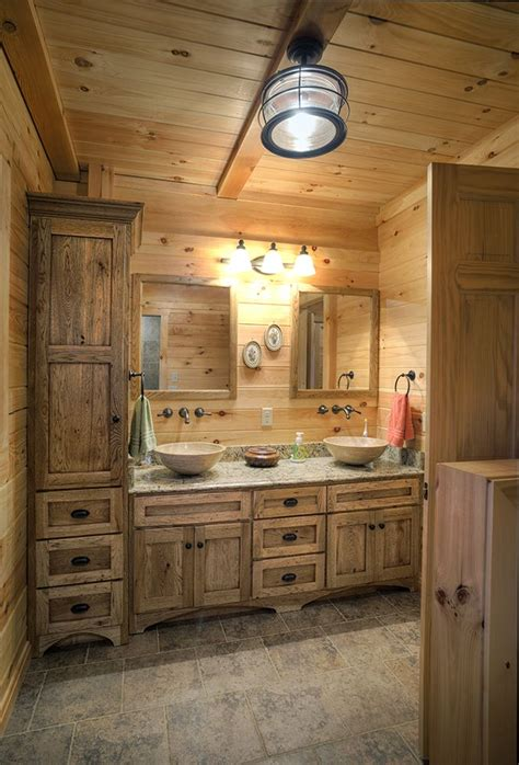 log home bathroom  double vanity log home bathrooms