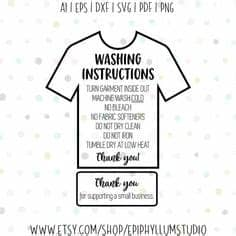Disponibili in png e vettoriale. Care Instructions Digital File | T shirt Care Instructions ...