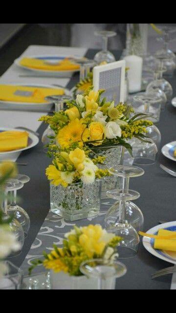 centre de table mariage jaune blanc  gris mariage